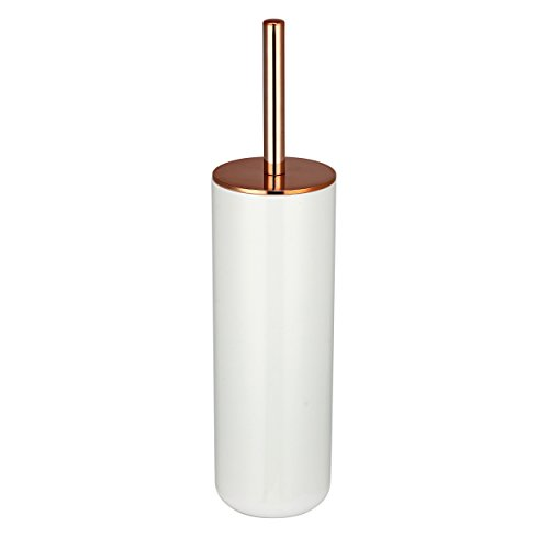 """MSV WC Bürste """"Pretty"""" aus Kunststoff WC Garnitur Toilettenbürste Weiß/Kupfer"""