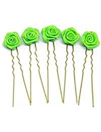 5 horquillas con rosas - accesorios para el cabello - para cabello plano - oro - Verde
