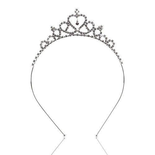 Tinksky Bambini cristallo strass cerchietto sposa cuore a forma di corona Tiara cerchietto (argento)