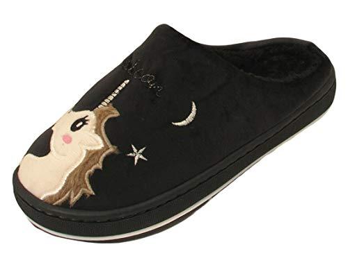 Ladies Unicorn Slippers Winter Warm Fleece Lined Loungewear Womens Mules Shoes