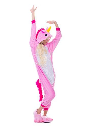 (Einhorn Pyjamas Kostüm Jumpsuit Erwachsene Unisex Tier Cosplay Halloween Fasching Karneval Plüsch Schlafanzug Tierkostüme Anzug Flanell, M,Rosa)