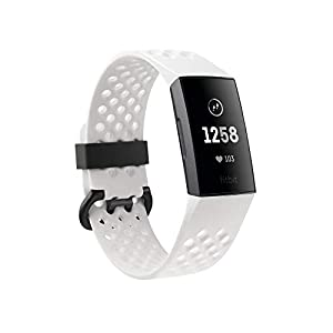 Fitbit Charge 3 Special Edition Gesundheits und Fitness-Tracker, Frostweiß Sport/Aluminium-Graphitgrau