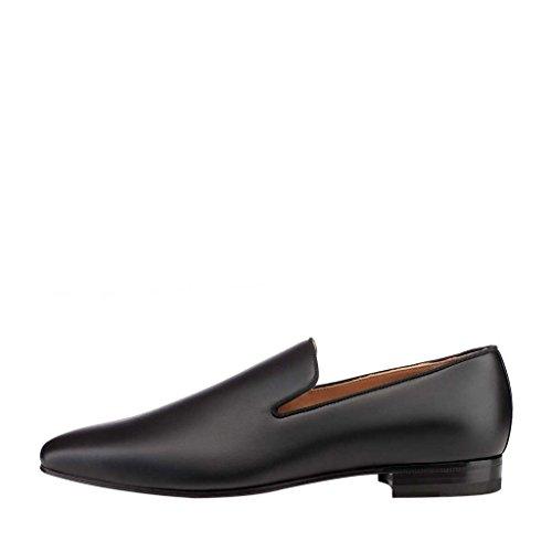NANCY JAYJII - Femmes - Oxford - Cuir véritable - Noir ou Marron ou Gris - Talon plat - Bout pointu fermé Noir