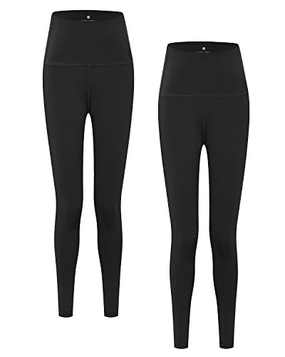 LAPASA Damen Leggings Yoga Sport Pants Lang High Waist L01, Gr.-38/L, Schwarz(2 Pack)