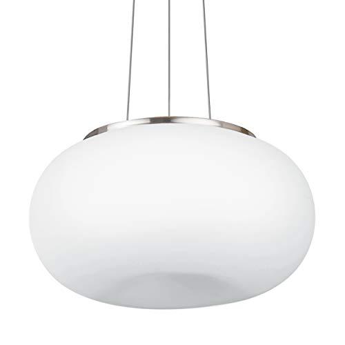 EGLO Pendellampe Optica, 2 flammige Pendelleuchte, Hängeleuchte aus Stahl, Farbe: Nickel matt, Glas: Opal matt weiß, Fassung: E27, Ø: 44,5 cm