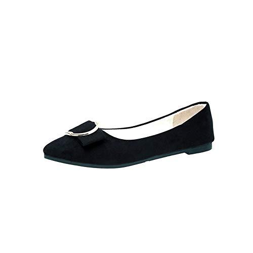 Luckhome Mode Frauen Wildleder Gürtelschnalle Flache Ferse Spitz Freizeitschuhe Schwarz, Damen Schuhe Schuhe Damen Schuhe Damen Sommer Damen Schuhe Sommer (Schwarz,EU:40.5)