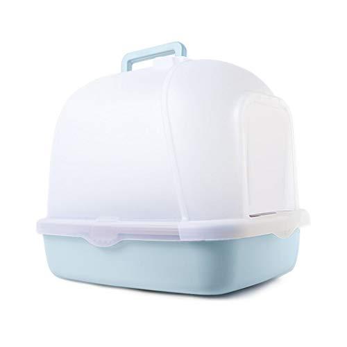 Jlxl Katzentoilette geschlossen, mit Kapuze Haustier Kunststoff Wurf Box Durchscheinend Zweiwege Klapptür Deodorant Abnehmbar Tragbar (Farbe : Blau) -