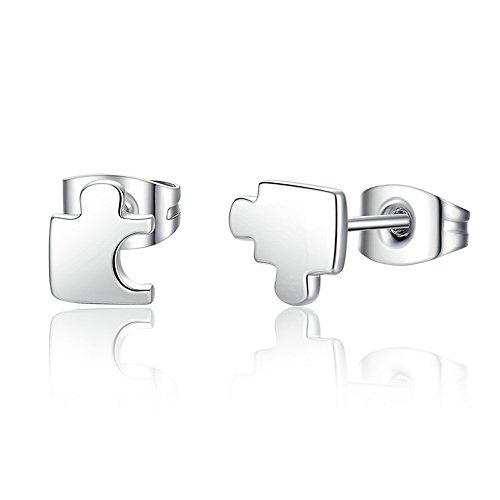 Lily Jewelry Autismo conciencia Puzzle juego 925 plata de ley pendientes