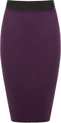 WearAll - Damen Übergröße Einfarbig Anliegend Stretch Bleistiftrock Midi Rock - Violett - 52-54