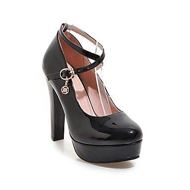 SHOESHAOGE Chaussures Pour Femmes De Similicuir Printemps Automne Comfort Heels Talon Bout Rond Pour Office Boucle &Amp; Carrière Robe Rouge Noir Blanc Black