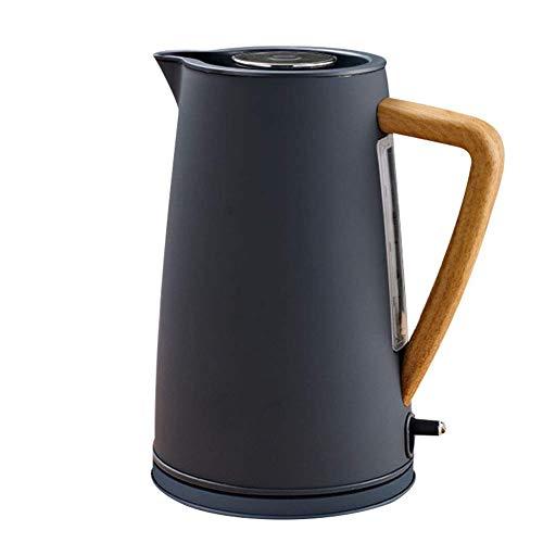 NFY 1800W Edelstahl Wasserkocher mit Holzgriff 1.7L # 304 Food Grade SS Edelstahl Heizung Wasser in 5 Minuten Mehrfarbig,Black
