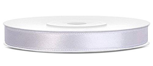 25m x 6mm Rolle Satinband Geschenkband Schleifenband Dekoband Satin Band Antennenband (Weiß (008)) -