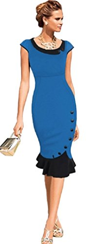 Robe de Rockabilly Pin Up Wiggle Crayon Années 40 50 Style Vintage (L - FR 40, Bleu)