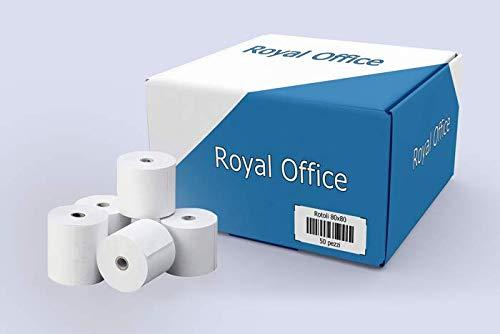 RoyalOffice 50 Rotoli Termici 80x80 per Cassa - Confezione 50 Rotolini Carta Termica 80x80 mt per Registratore di Cassa, Scontrini Fiscali e Scommesse