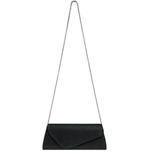CASPAR TA394 Damen elegante Glitzer Stoff Baguette Clutch Tasche / Abendtasche mit langer Kette Dunkelblau