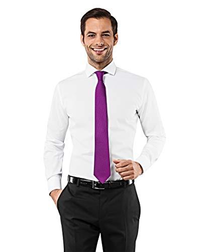 Vincenzo Boretti Herren-Hemd Haifisch-Kragen bügelfrei 100% Baumwolle Slim-fit tailliert Uni-Farben - Männer lang-arm Hemden für Anzug Krawatte Business Hochzeit Freizeit weiß 39/40 - Herren-business-anzug