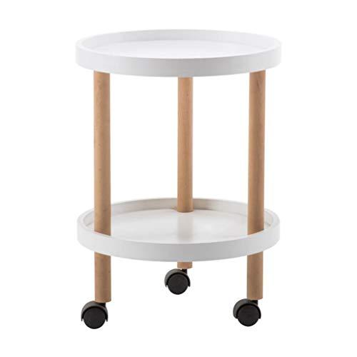M-JH Table d'appoint, Poulie Double Couche Se déplaçant en Bois Massif Table d'appoint de canapé en Bois Table d'appoint Petite Table d'extrémité (Taille : 60 cm)