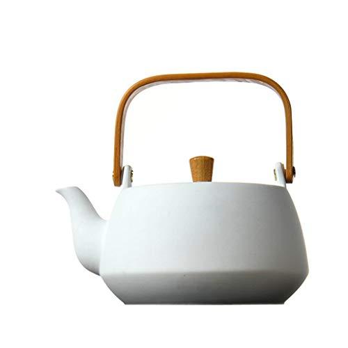 SCJS Kung Fu Tea Set White Ceramic Teapot Heat-Resistant Ceramic Boiled Water Boiling Teapot Quart Flame Top