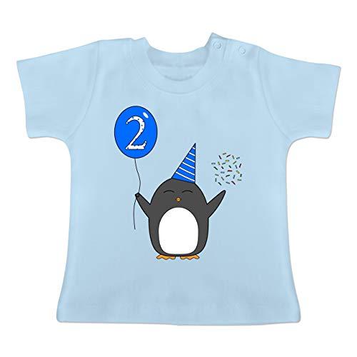 Geburtstag Geschenk für Babys - 2.Geburtstag - Baby - Blau - Pinguin - Ballon - Konfetti - 18-24 Monate - Babyblau - BZ02 - - Baby Jungen Mädchen T-Shirt Babies