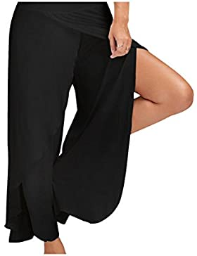 Zojuyozio Mujer Elegante Ruffle Loose Palazzo Pantalones De Yoga Raja Trouses Plus Size
