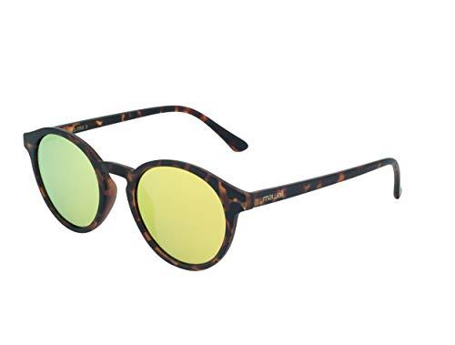 Mawaii Just Smile Lifestyle polarisierte Sonnenbrille für Damen und Herren in Havanna Gold Optik inkl. Mikrofaserbeutel