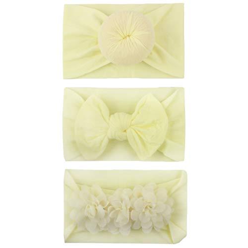 CCIKun 3 Stück Boutique Qualität Baby Mädchen Haar Bogen Haar Bands Baumwolle Elastische Stirnbänder Babygeschenke Taufe Geschenksets(B,Einheitsgröße)