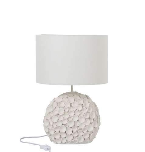 Lampe boule fleurs en résine blanc