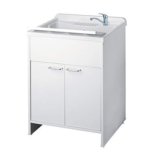 Mobile lavatoio misura .60x60x88 2 ante vasca e asse lavapanni resina colore bianco per interno o esterno