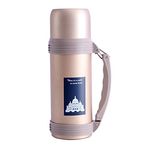 Edelstahl Trinkflasche Vakuum Isolierflasche,Thermosflasche aus Edelstahl mit großem Fassungsvermögen und tragbarem Wasserkocher für den Außenbereich,Vakuum-Isolierte auslaufsicher Trinkflasche