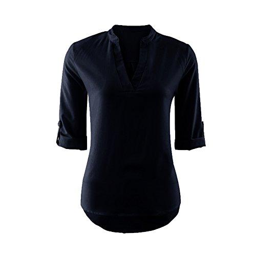 iBaste Casual Shirt Damen Viskose Blusen V-Ausschnitt 3/4 Arm Shirt damen Oberteil Tops Sommer T-Shirt Blau