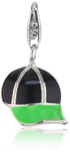 THOMAS SABO Damen-Charm Club-Anhänger Cap neongrün und schwarz emailliert 925er Sterlingsilber 0729-007-6 (Anhänger Cap)