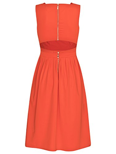 FOURFLAVOR Kleid Sarah V-ausschnitt Knielang ärmellos Casual Stark Tailliert 95% Polyester, 5% Elasthan Orange