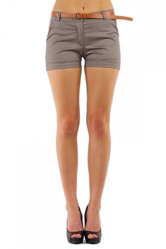 Damen Hotpant Chino Shorts kurze Hose mit Gürtel ( 278 ), Grösse:S / 36, Farbe:Grau