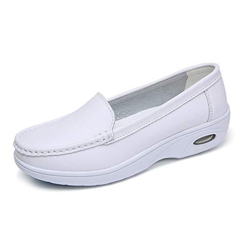Leder Mary Jane Schuhe Anziehen (Daytwork Bootsschuhe Wohnungen Frauen - Damen Pumps Leder Plattform Anziehen Mokassin Lässig Müßiggänger Täglich Tragen Arbeit Krankenschwester Schuhe Komfortabel)