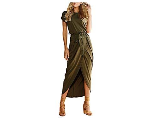 Yidarton Sommerkleid Damen Shirt Kleider Lang Strandkleid Beach Kleid Partykleid Elegant Maxikleid (M, Grün) (Kleider Abend Für Maxi Frauen)