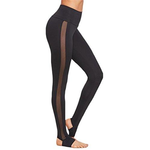 Elecenty Yoga Hosen Damen,Dünne Hosen Leggings Yogahosen Reizvolle Training Hose Fitnesshose Sporthose Frauen Mesh Patchwork Solide Atmungsaktive Jogginghose Laufhose Activewear (M, Schwarz)