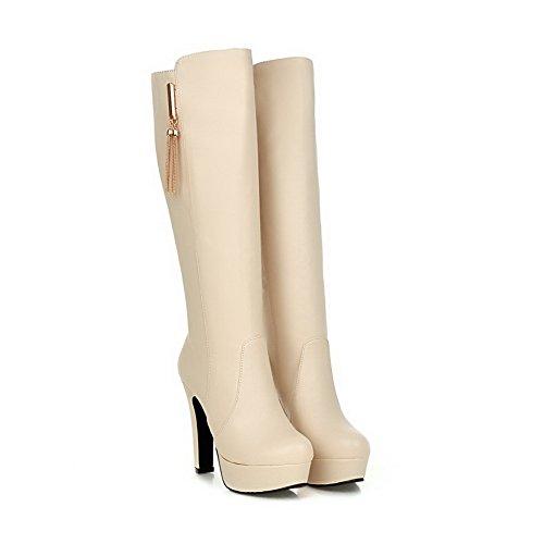 AgooLar Damen Blend-Materialien Rund Zehe Rein Hoch-Spitze Hoher Absatz Stiefel Cremefarben