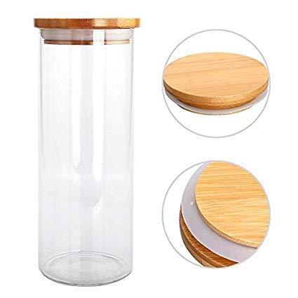 Glasbehälter 850ml vorratsdosen glas Glas-behäler mit Bambus-Deckel natürlichem Bambus Deckel und...