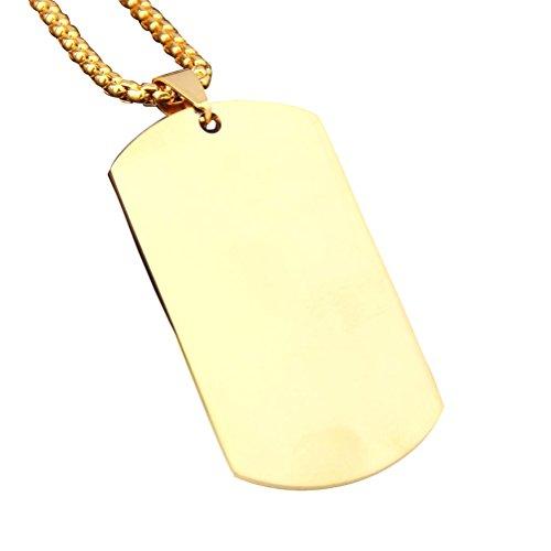 rosenice DIY Halskette Kette Edelstahl Anhänger Titanium Real-Label-Hund des militärischen ajército (Gold)
