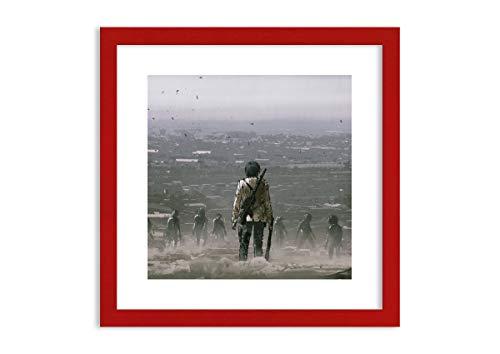 Bild im roten Holzrahmen - Bild im Rahmen - Bild auf Leinwand - Leinwandbilder - Breite: 40cm, Höhe: 40cm - Bildnummer 4101 - zum Aufhängen bereit - Bilder - Kunstdruck - F1RAC40x40-4101