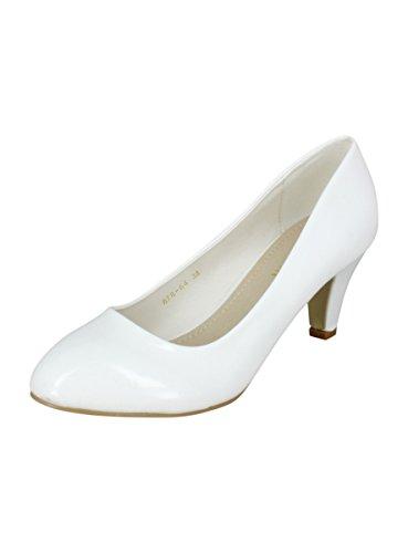 Scarpe da donna con tacco basso, bianche, per matrimonio o cerimonia