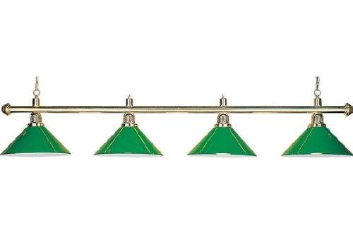 Billard Lampe 'Evergreen', grün, 4 Schirme, Ø35cm, 145cm