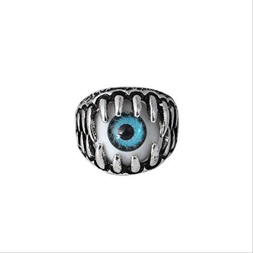 (XJYA Halloween Devil's Eye Ring Für Unisex Horror Ring Herrschsüchtig Übertriebene Legierung Ring,Blue,8#)