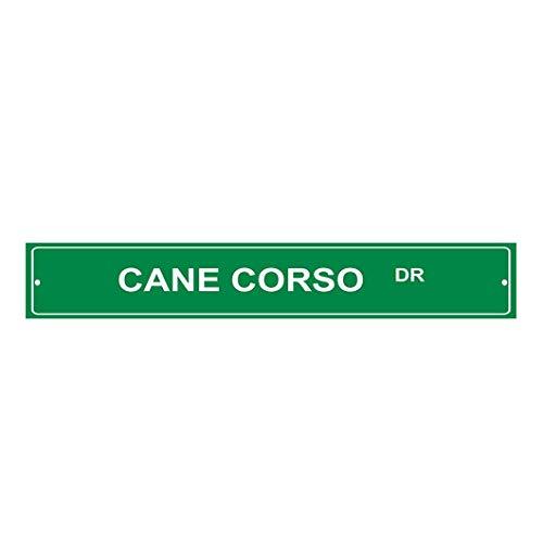 Monsety Metallschild mit Aufschrift Cane Corso Dog Drive, dekoratives Adressschild, lustiges Aluminiumblech, Straßenschild, Heimdekoration, 4 x 18 cm