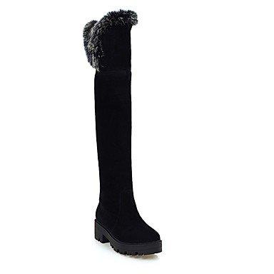 Rtry Femmes Chaussures Nubuck Cuir Hiver Mode Bottes Bottes Chunky Talon Bout Rond Cuisse-haute Bottes Pour Casual Wear Kaki Rouge Noir Gris Us8 / Eu39 / Uk6 / Cn39