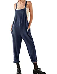 be0bb5e5fab3 Hibote Women Summer Cotton Linen Dungarees Jumpsuits Sleeveless Loose  Oversize Tunic Dress Plus Size Playsuits with