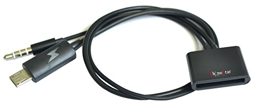 PhoneStar Mirco USB Audio Adapter mit Kabel Dockingstaion Ladeadapter inkl. Audioübertragung - iPhone 4 Anschluss zu MicroUSB Anschluss - für Samsung Galaxy, Huawei, LG, Nokia, Sony Xperia, HTC uvm. In schwarz