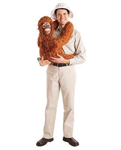 Horror-Shop Beiges Safari Kostümhemd mit süßer Orang-Utan Baby Handpuppe (Orang-utan-kostüm)