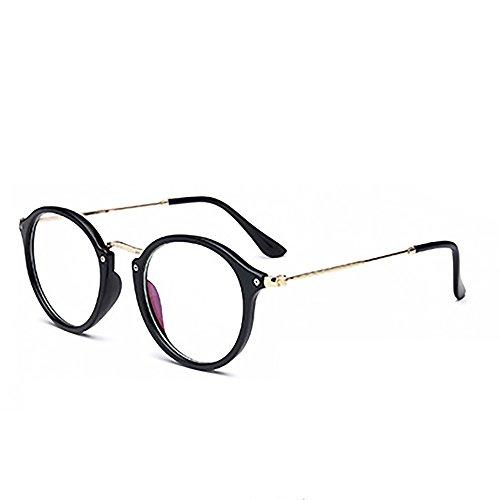 Skitic Retro Rund Brillen Nerdbrille Transparent Gläser Damen / Herren Brillen (Helles Schwarz)