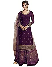 Fabzara Women's Satin Embroidery Sharara Suit (FZ_LT_4901_vine, Wine, Free Size)